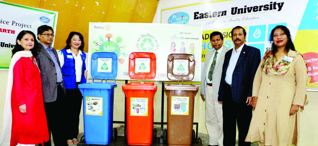 Vice-Chancellor of Eastern University (EU) Prof Dr Abdur Rob, among others, at the inauguration of a project titled `Save The Earth` jointly organized by EU and Rotary Club of Dhaka Royal in the city