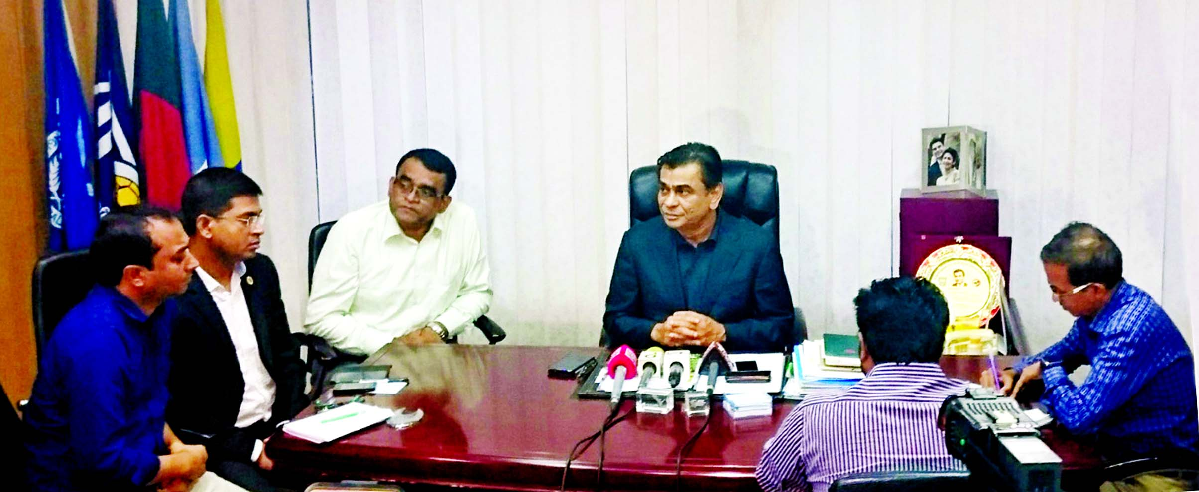 President of Bangladesh Football Federation (BFF) Kazi Salahuddin talking to the journalists at the BFF House on Tuesday after taking part in a meeting at the Ministry of Youth and Sports.