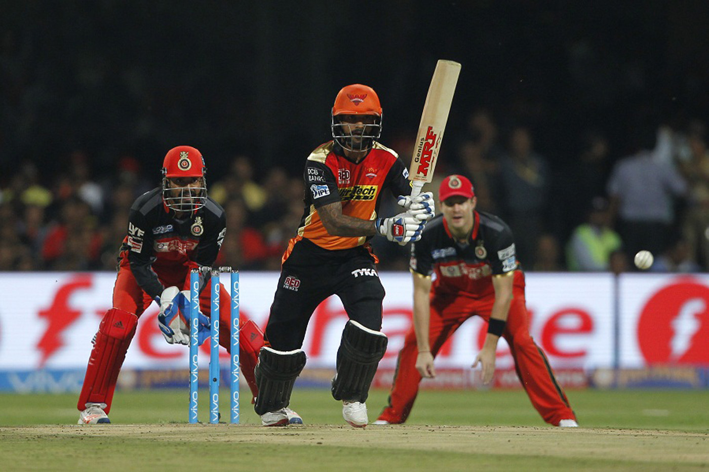Shikhar Dhawan drives down the ground during the IPL 2016 final match between  Royal Challengers Bangalore and Sunrisers Hyderabad at  Bangalore on Sunday.